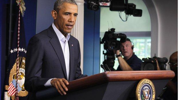 Barack Obama gives a speech