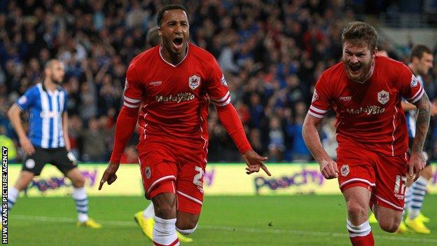 Nicky Maynard celebrates scoring for Cardiff City against Wigan