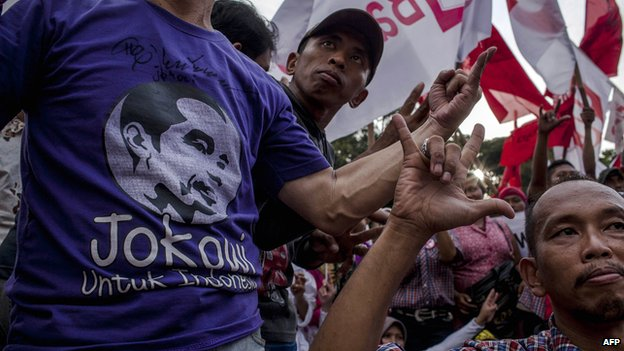 Elected Indonesian President Joko Widodo's supporters attend victory celebrations on 23 July, 2014 in Jakarta, Indonesia