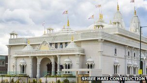 The exterior of the Shree Swaminarayan Siddhant Sajivan Mandal Temple in Kingsbury