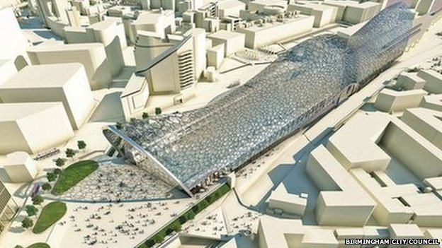 Artist's impression of HS2 hub in Birmingham