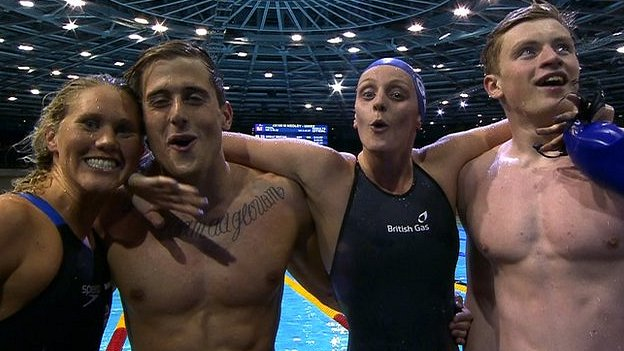 Jemma Lowe, Chris Walker-Hebborn, Fran Halsall and Adam Peaty