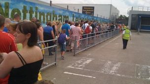 A queue outside East Midlands Airport