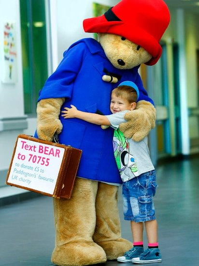 Cameron Howe meets Paddington Bear during his visit to the Great North Children's Hospital
