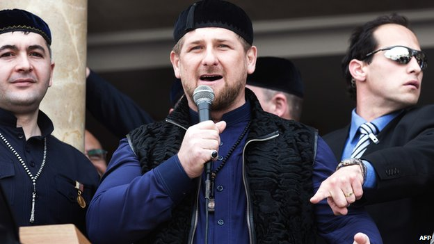 Chechen leader Ramzan Kadyrov speaks at the opening of a mosque in the Palestinian town of Abu Ghosh in March 2014
