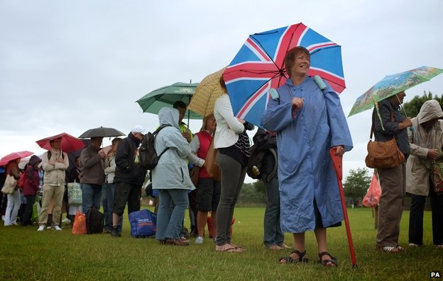 Wet queue at Wimbledon