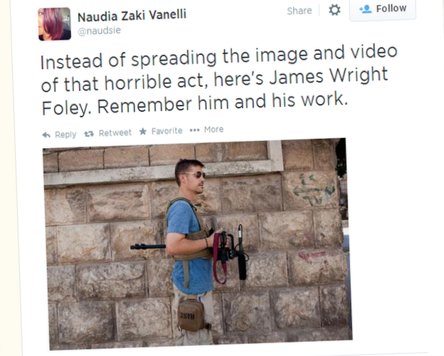 "A tweet reading ""Instead of spreading the image and video of that horrible act, here's James Wright Foley. Remember him and his work."""