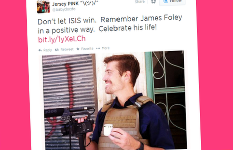 "A tweet reading ""Don't let ISIS win.  Remember James Foley in a positive way.  Celebrate his life! """