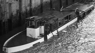 The wrecked hull of the Marchioness in the river Thames