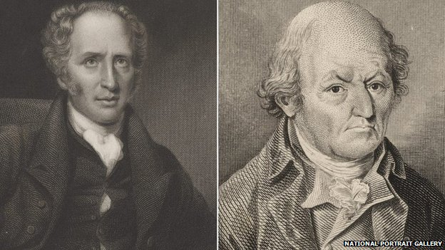 John Hodgson by Edward Scriven (L) and William Hutton by James Basire (R)