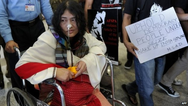 March 3, 2013 photo of activist from Manipur, Irom Sharmila
