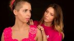 Model Kayleigh Rose (left) is fitted by Kelly Bull into the loom band top