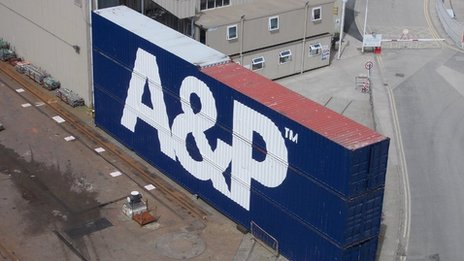 A&P container on Falmouth Docks. Pic: Andrew Segal