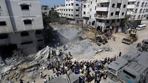Aftermath of air strike in Gaza City that killed Mohammed Deif (20 August 2014)