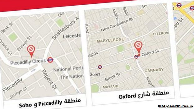UAE foreign ministry map of London dangers