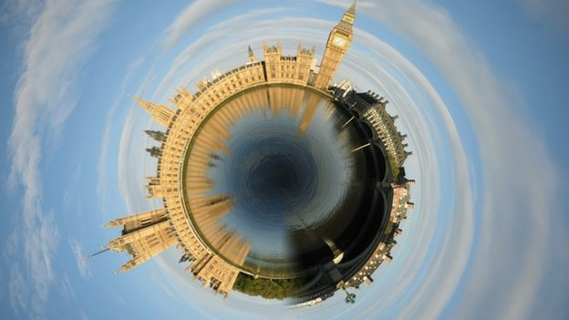 Westminster in a swirl, distortion graphic