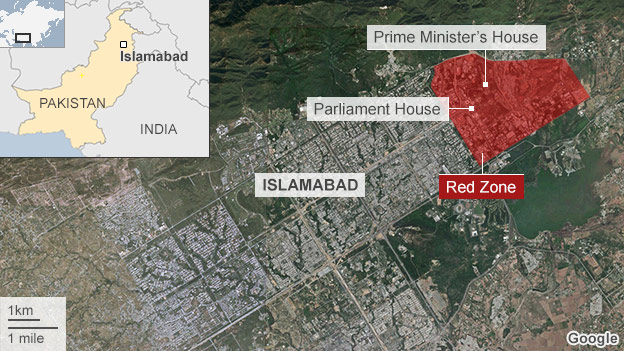 Satellite image showing the location of the high-security red zone in Islamabad, Pakistan