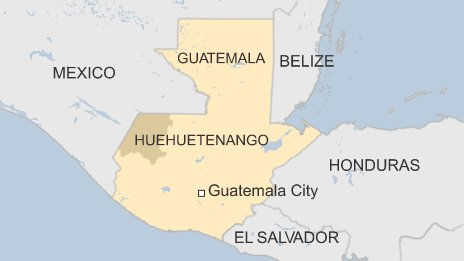 Map of Guatemala's Huehuetenango