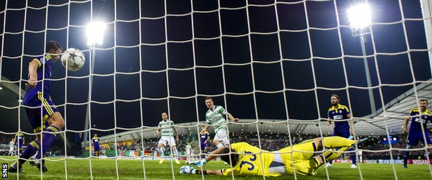 Callum McGregor scores for Celtic against NK Maribor