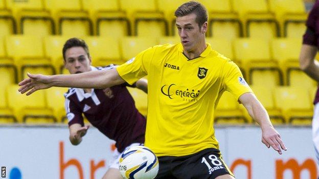 Jordan White in action for Livingston against Hearts