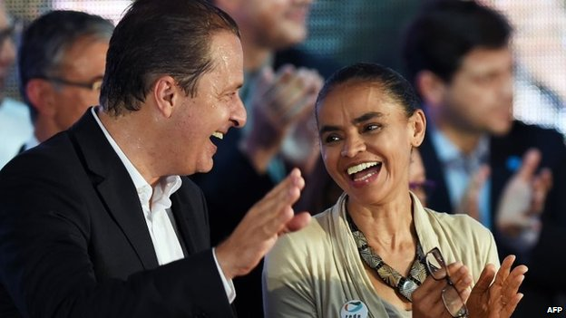 Eduardo Campos and Marina Silva speak during their candidacy pre-launch ceremony in Brasilia on April 14, 2014.