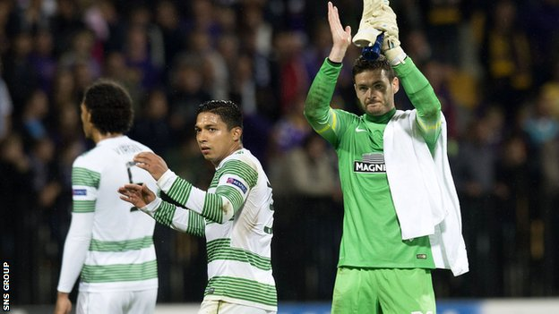 Goalkeeper Craig Gordon applauds the Celtic fans in Slovenia