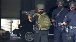Police respond to a shooting in Santa Monica
