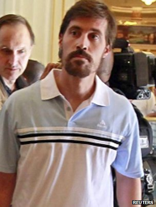 James Foley in Tripoli after being released from captivity by the Libyan government in 2011