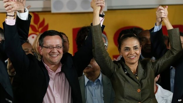 Marina Silva, right, and her running mate Beto Albuquerque, in Brasilia, Brazil, August 20, 2014.