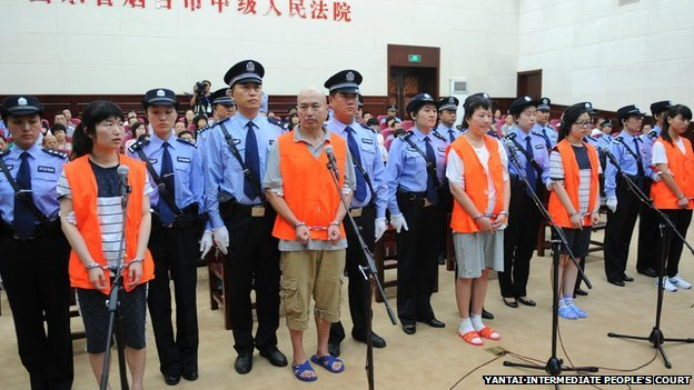 Defendants stand trial in Yantai, Shandong, 21 Aug 2014