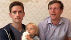 Nick and Michael Scott-Kline, son Elliot and surrogate mother Sarah Jones