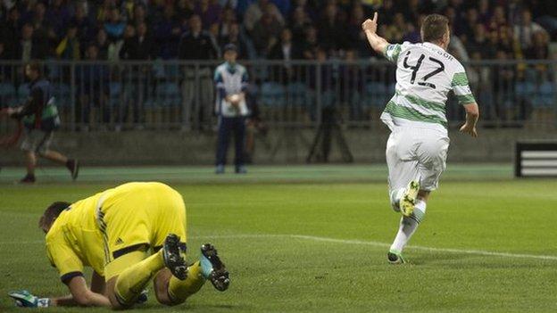 Callum McGregor celebrates after scoring for Celtic against NK Maribor