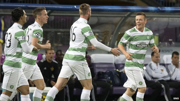 Callum McGregor celebrates his goal against Maribor