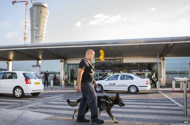 A sniffer dog patrol at Ben Gurion airport, Tel Aviv, 21 August