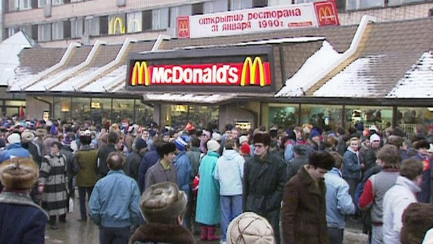 McDonald's opens in Moscow 1990