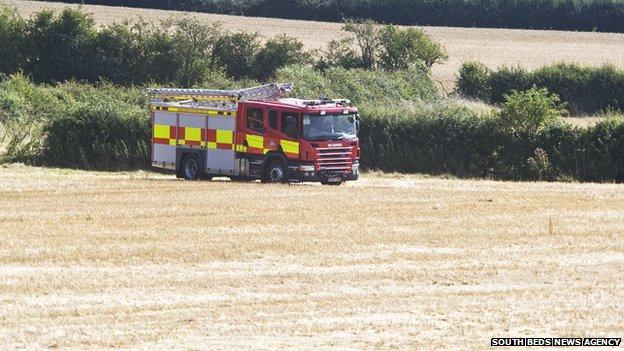 Fire engine at site of Padbury air crash