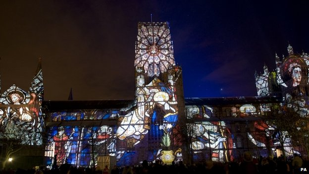 Durham cathedral lit up during Lumiere