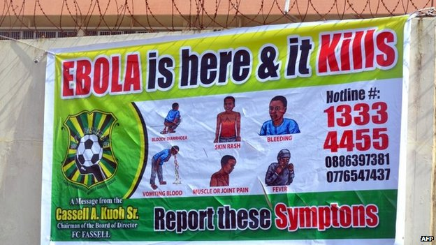 A picture taken on August 19, 2014 in Monrovia show an Ebola information billboard displayed near the John F Kennedy memorial medical centre