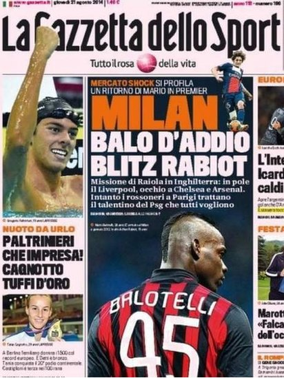 Newspaper about Balotelli