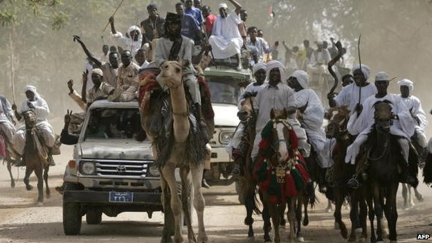 Sudanese on camels and horses in Zalingei in Darfur, Sudan - 2009