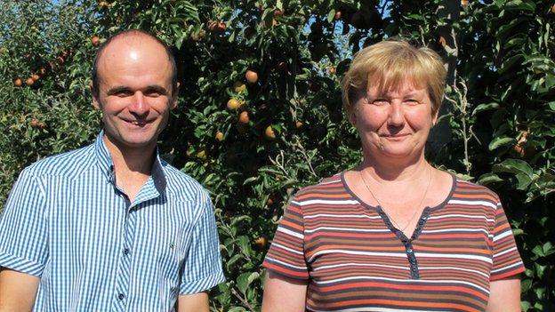 Apple farmer, Barbara Domasiewicz and her husband.
