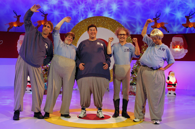 Will Self (far left) in Shooting Stars with Matt Lucas, Vic Reeves, Bob Mortimer and Ulrika Jonsson