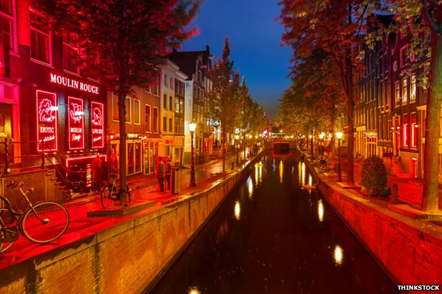 The red light district at night