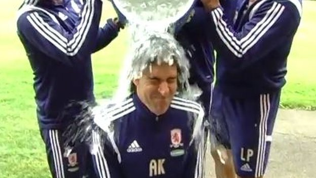 Ice is poured over the manager