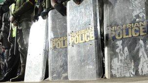 Riot police shields in Nigeria - archive shot
