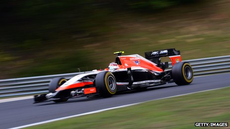 Max Chilton driving an F1 car