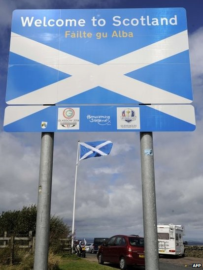 Welcome to Scotland border sign