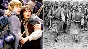 A scene from LOTR movie and WW1 soldiers