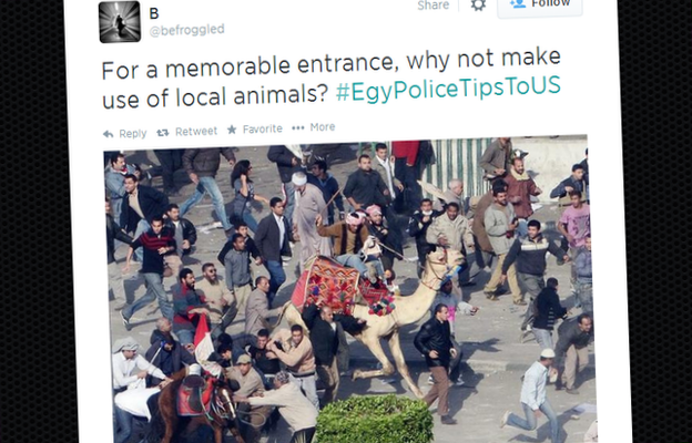 "A tweet showing a man on a camel riding into a crowd and reading ""For a memorable entrance, why not make use of local animals?"""