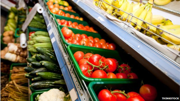 Fruit & veg on supermarket shelves